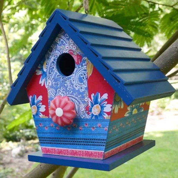 Birdhouse Blue Patchwork