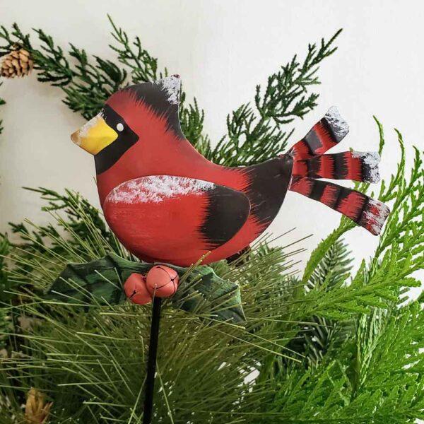 Cardinal Snowy Metal Stake