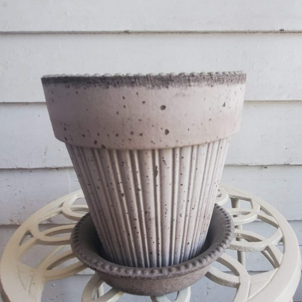 Italian Pottery Gray Terra Cotta Pot with Fluted Body