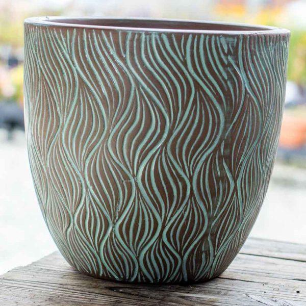 Pot Round Sea Grass Planter Anqiue NY Blue Medium