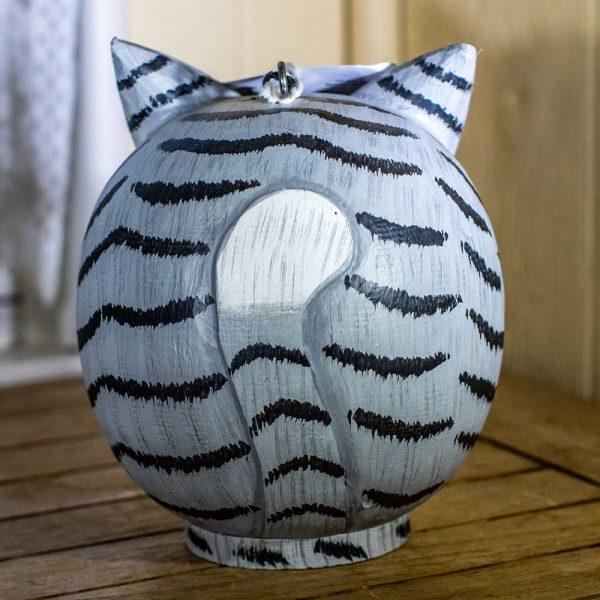 Birdhouse Grey Tabby Cat