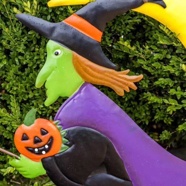 Halloween Garden Stake Witch On Broom With Moon On Two Poles