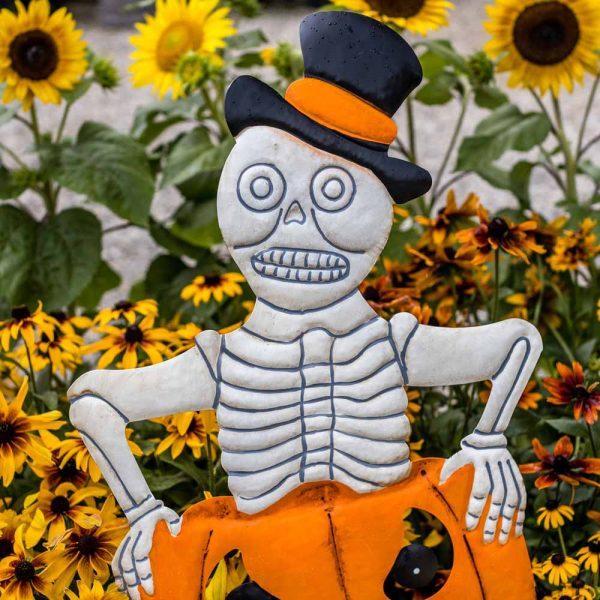 Halloween Garden Stake Skeleton On Pumpkin On Two Poles