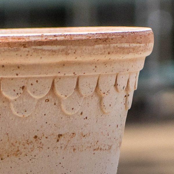 Italian Pottery Terra Cotta Pot with Mini Scallop Detailing
