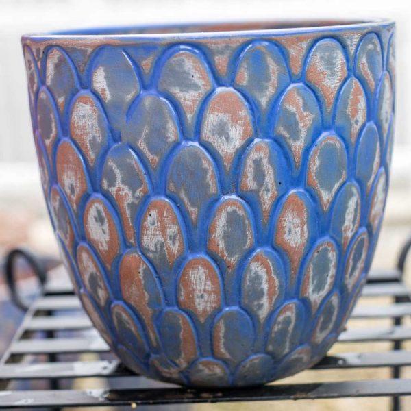 Pot Round Scalloped Planter Antique New York Blue Medium