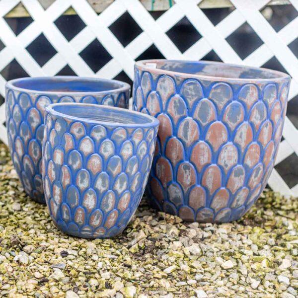 Pot Round Scalloped Planter Antique New York Blue Set