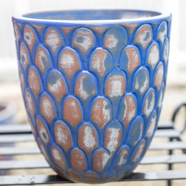 Pot Round Scalloped Planter Antique New York Blue