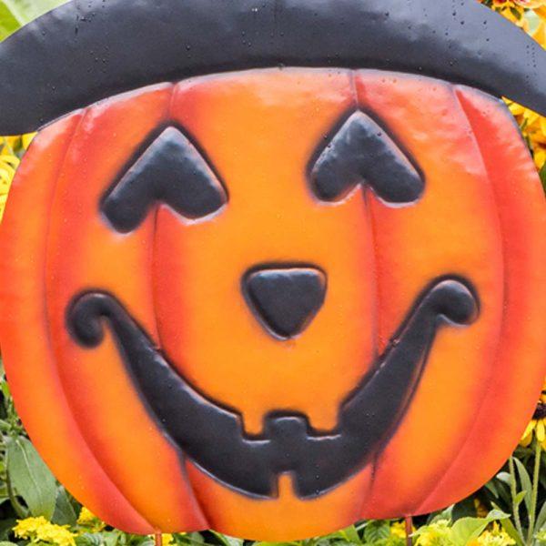 Halloween Garden Stake Jack-O-Lantern Welcome On Two Poles