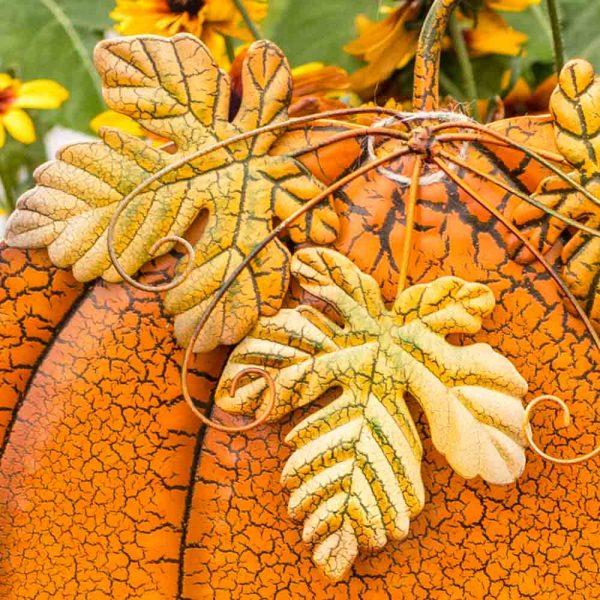Pumpkin Garden Stake Elegant Wide On Two Poles