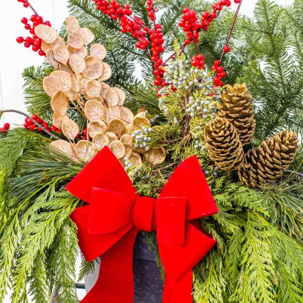 Fresh Cut Evergreen Mixed Container – Golden Celebration
