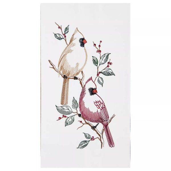 Flour Sack Towel Embroidered Cardinals