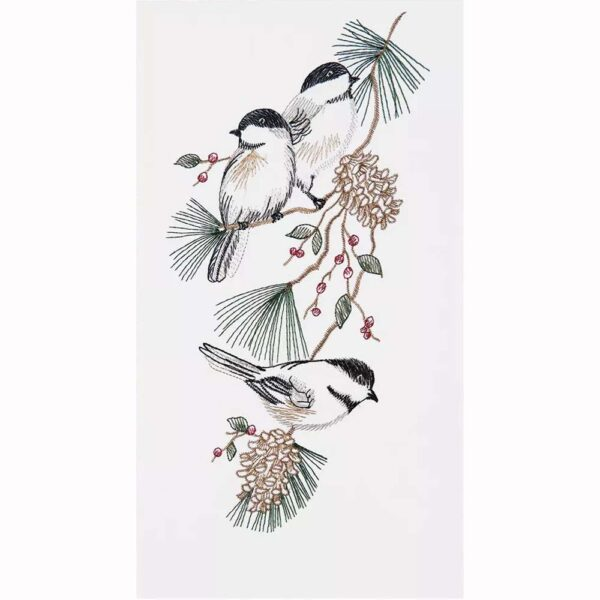 Flour Sack Towel Embroidered Chickadees