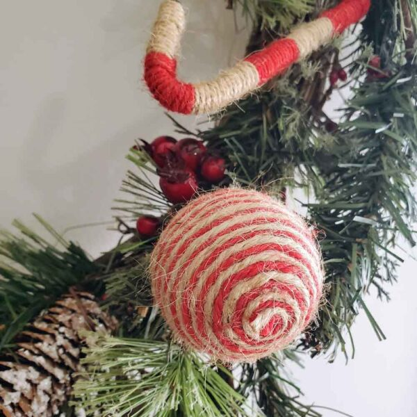 Wreath with Yarn Ornaments