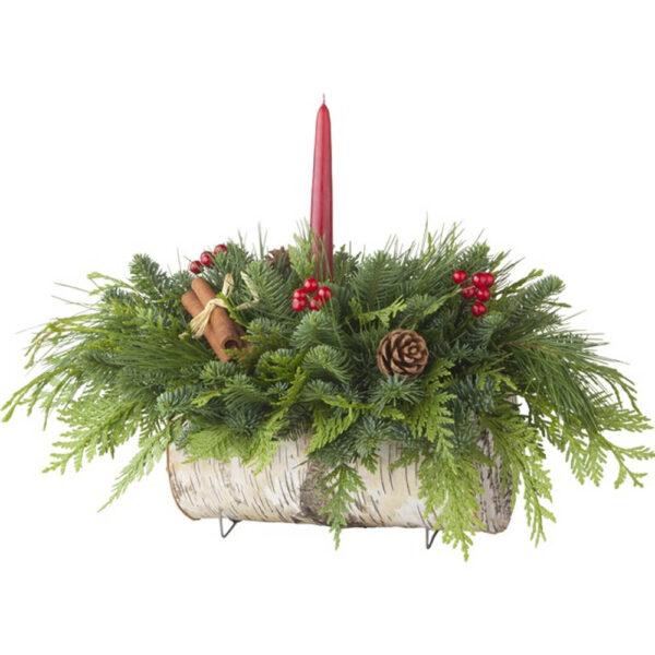 Birch Log Centerpiece Fresh Cut Evergreens – Preorder
