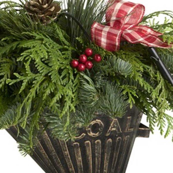 Coal Bucket Centerpiece With Fresh Cut Evergreens – Preorder