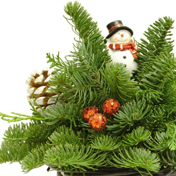Frosty Hat Centerpiece With Fresh Cut Evergreens