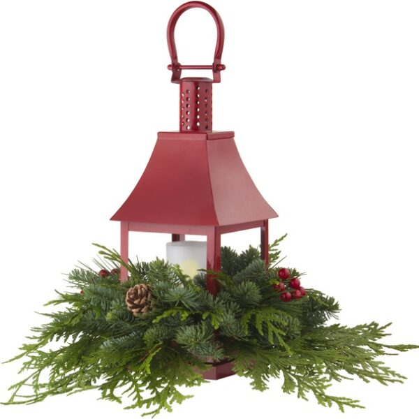 Lantern With LED Candle and Fresh Cut Evergreens