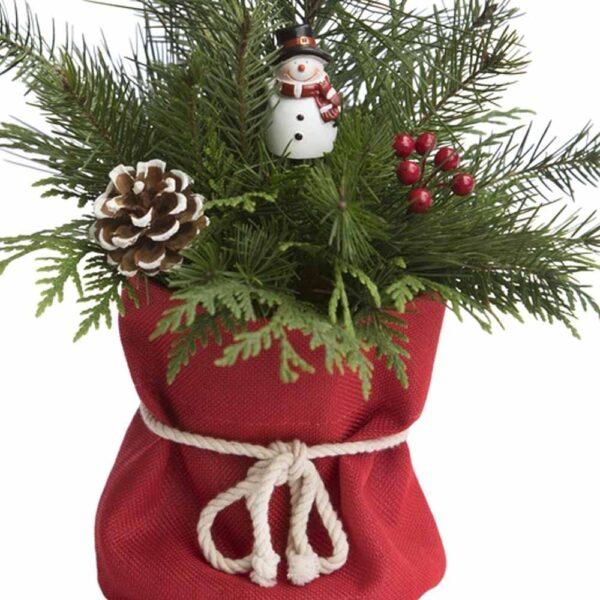 Santa Sack Centerpiece  With Fresh Cut Evergreens